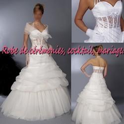 Robe de mariée NV blanche bustier transparent VENDU avec étole et jupon