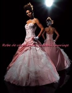 Robe de mariée NV rose pâle et blanc VENDU avec jupon adapté. - Boutique robe-de-ceremonies ...