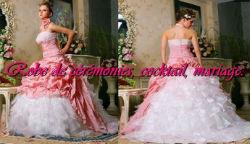 Robe de mariée rose pâle et blanc avec traîne vendu avec jupon adapté - Boutique robe-de ...