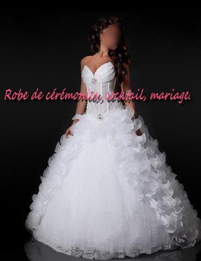 Robe de mariée NV blanche à bustier transparent VENDU avec jupon adapté. , Boutique robe,de,ceremonies.wifeo.com