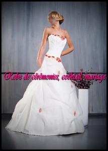 robe de mari e nv blanc et rouge fuchsia vendu avec jupon adapt boutique robe de ceremonies. Black Bedroom Furniture Sets. Home Design Ideas