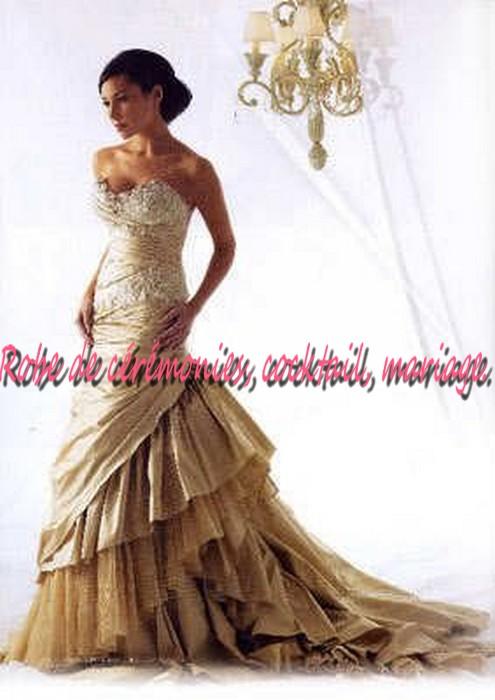Robe de mariee blanc dore