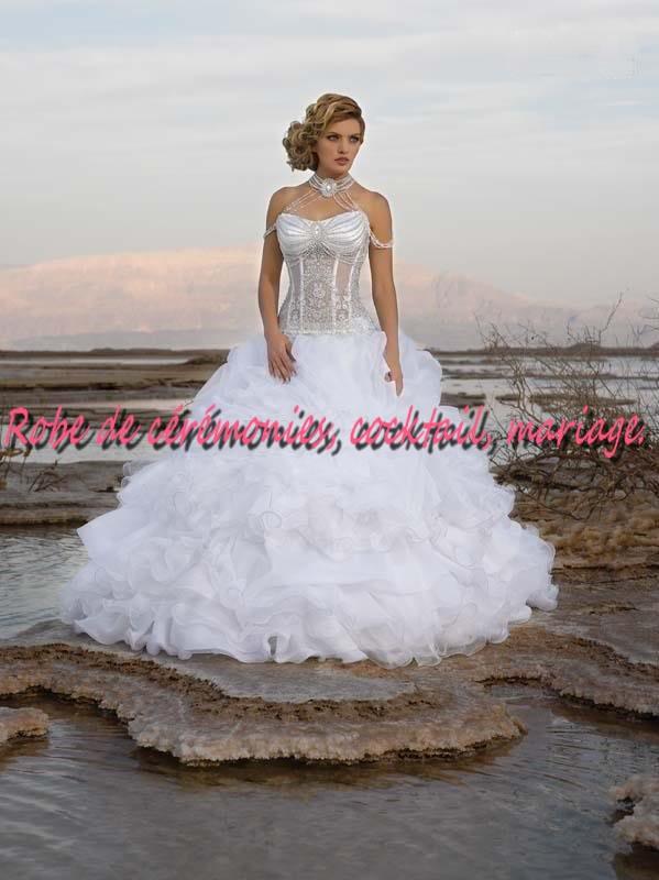Robe de mariée NV blanche bustier transparent VENDU avec jupon adapté  collier. , Boutique robe,de,ceremonies.wifeo.com