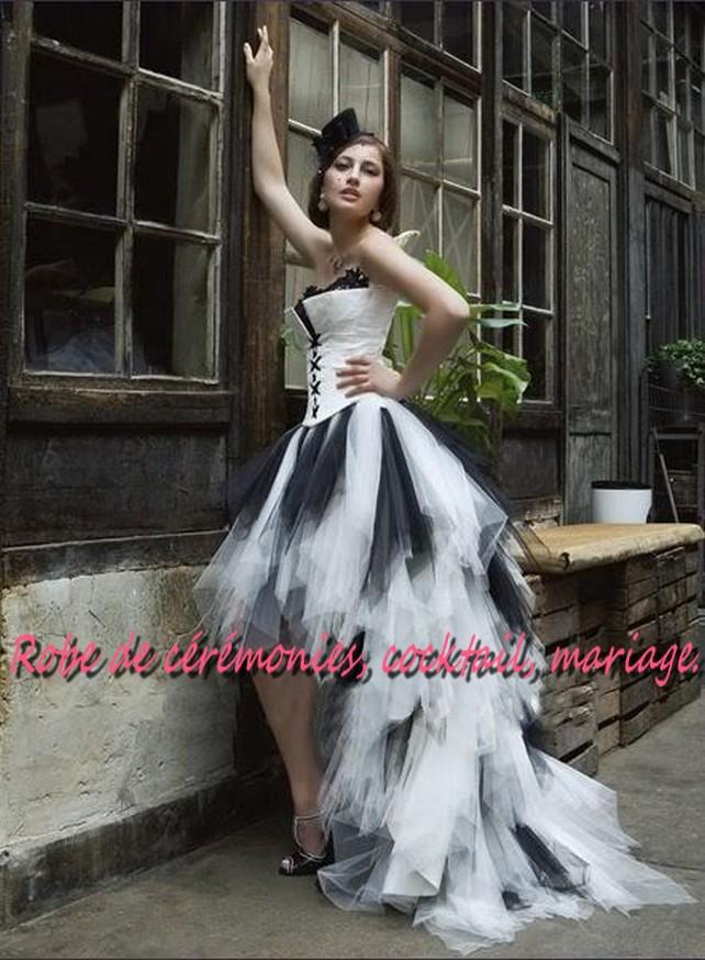 Robe de mariée NV noir et blanche asymétrique style corset , Boutique robe,de,ceremonies.wifeo.com