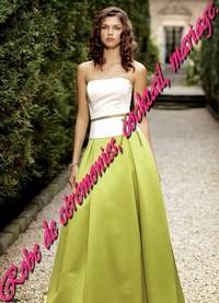 56a47a77f95 Robe de cocktail bustier Blanc et Vert anis - Boutique robe-de ...