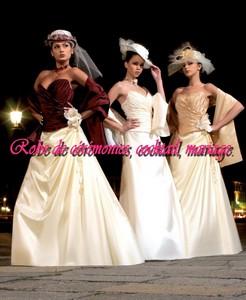 Robe De Mariée Glamour Bordeaux Ivoire Vendu Avec étole