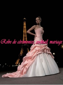 Robe de mariée glamour rose corail & blanc VENDU avec jupon adapté. - Boutique robe-de ...