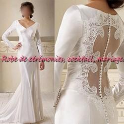 robe de mari e nv blanche coupe droite manches longue boutique robe de. Black Bedroom Furniture Sets. Home Design Ideas