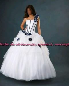 robe de mari e sld blanche et bleu motif floral vendu avec. Black Bedroom Furniture Sets. Home Design Ideas